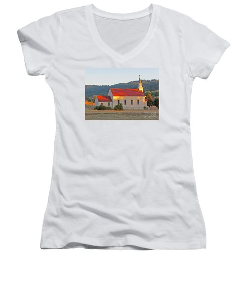 St. Mary's Church At Sunset Women's V-Neck