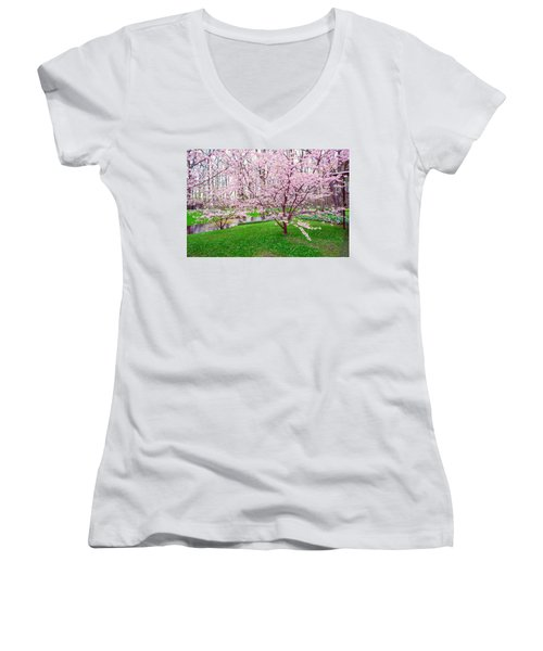 Women's V-Neck T-Shirt (Junior Cut) featuring the photograph Sakura Bloom In Keukenhof Garden by Jenny Rainbow