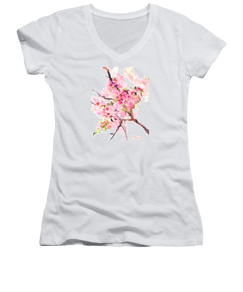 Sakura Cherry Blossom Women's V-Neck T-Shirt