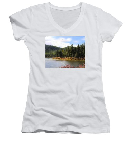 Salmon Lake Montana Women's V-Neck T-Shirt (Junior Cut) by Susan Kinney