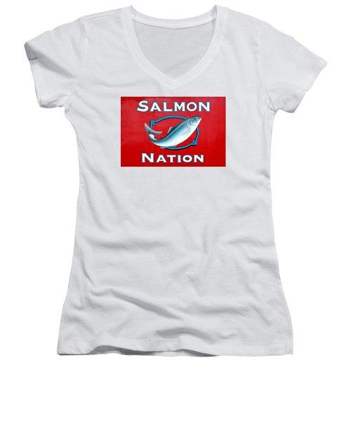 Salmon Nation Women's V-Neck