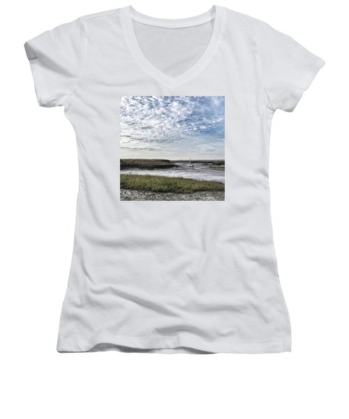 Salt Marsh And Creek, Brancaster Women's V-Neck (Athletic Fit)