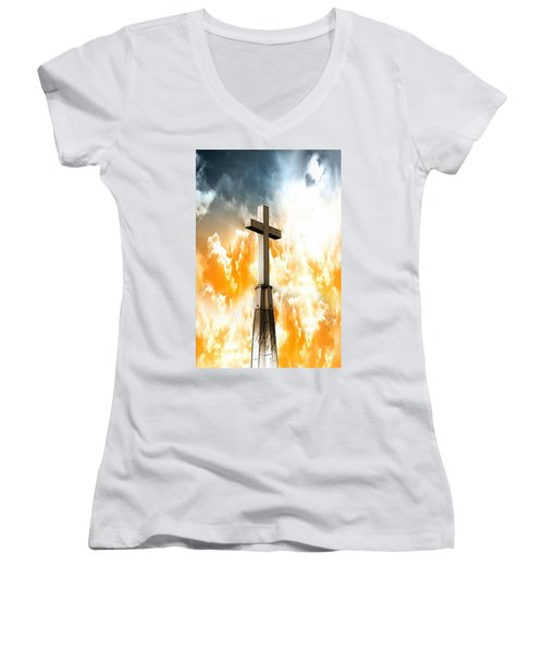 Women's V-Neck T-Shirt featuring the photograph Salvation  by Aaron Berg
