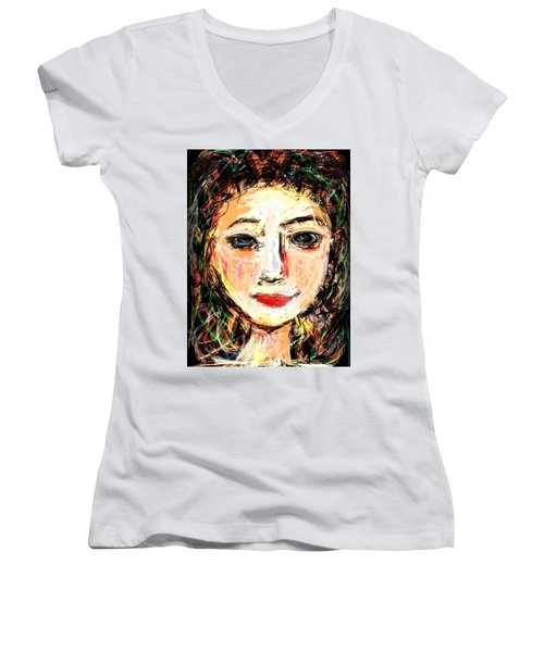 Samantha Women's V-Neck T-Shirt (Junior Cut) by Elaine Lanoue