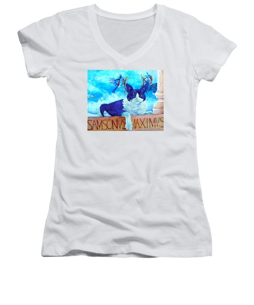 Sammy The Great And The Winged Victories Women's V-Neck (Athletic Fit)