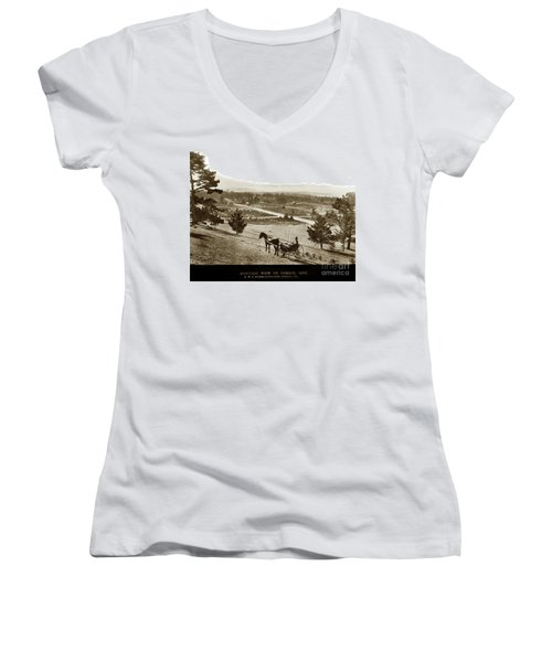Samuel J. Duckworth Pauses To Look Upon What Would Become Carmel 1890 Women's V-Neck