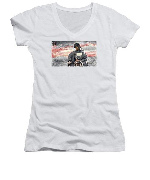 Samurai Warrior Women's V-Neck T-Shirt (Junior Cut) by Ian Gledhill