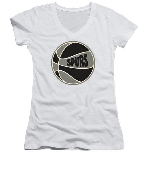 Women's V-Neck T-Shirt (Junior Cut) featuring the photograph San Antonio Spurs Retro Shirt by Joe Hamilton