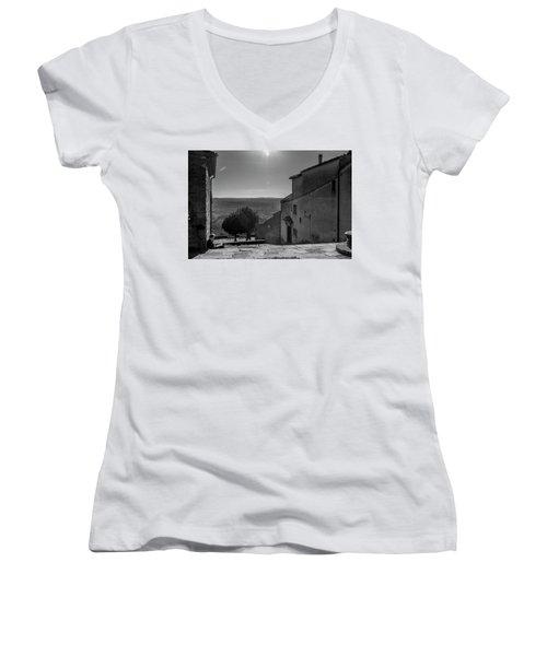 Women's V-Neck T-Shirt (Junior Cut) featuring the photograph San Francesco Monastery - Fiesole, Italia. by Sonny Marcyan