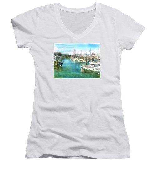 Women's V-Neck T-Shirt (Junior Cut) featuring the digital art San Francisco Fishing Boats by Michael Cleere