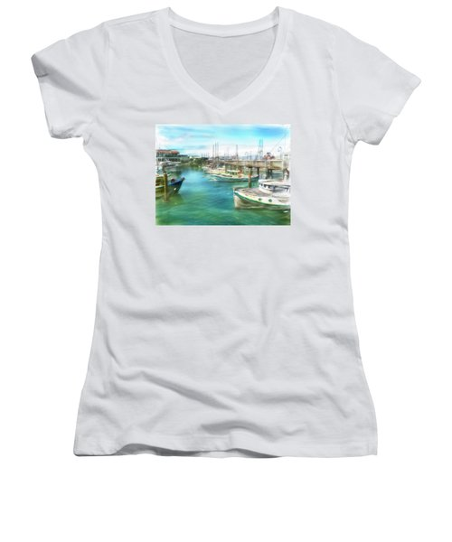 San Francisco Fishing Boats Women's V-Neck (Athletic Fit)