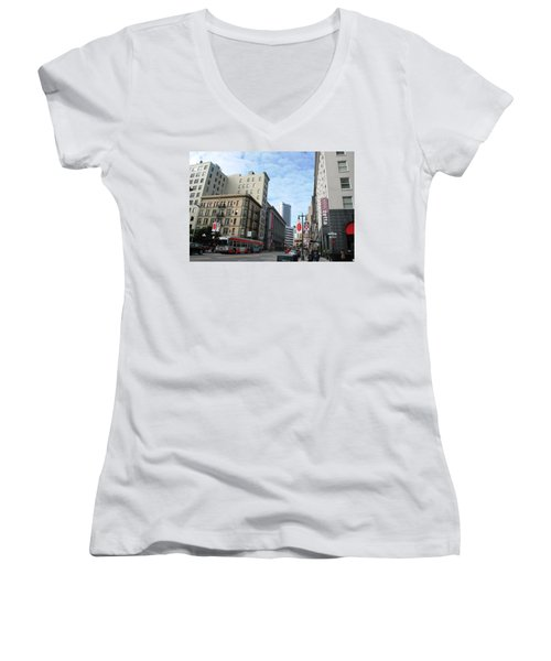 San Francisco - Jessie Street View Women's V-Neck T-Shirt (Junior Cut)
