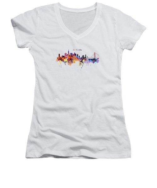 San Francisco Watercolor Skyline Women's V-Neck (Athletic Fit)