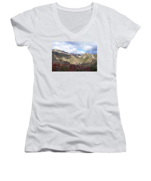 San Gabriel Mountains National Monument Women's V-Neck T-Shirt (Junior Cut) by Kyle Hanson