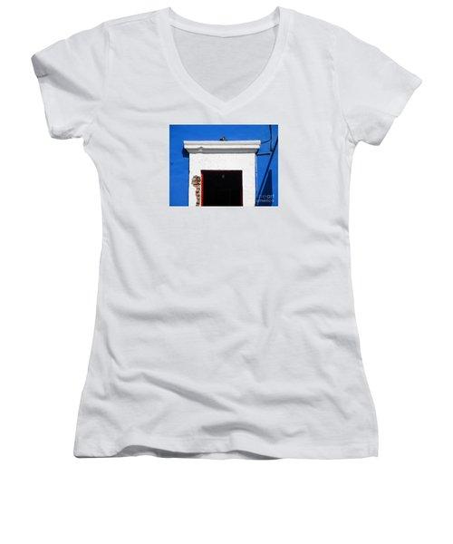 San Jose Del Cabo Door 5 Women's V-Neck T-Shirt (Junior Cut) by Randall Weidner