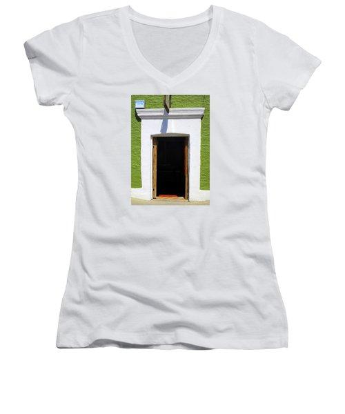 San Jose Del Cabo Door 7 Women's V-Neck T-Shirt (Junior Cut) by Randall Weidner