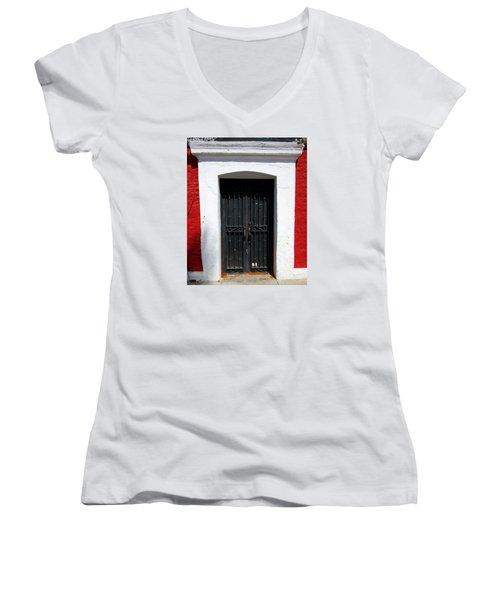 San Jose Del Cabo Door 8 Women's V-Neck T-Shirt (Junior Cut) by Randall Weidner