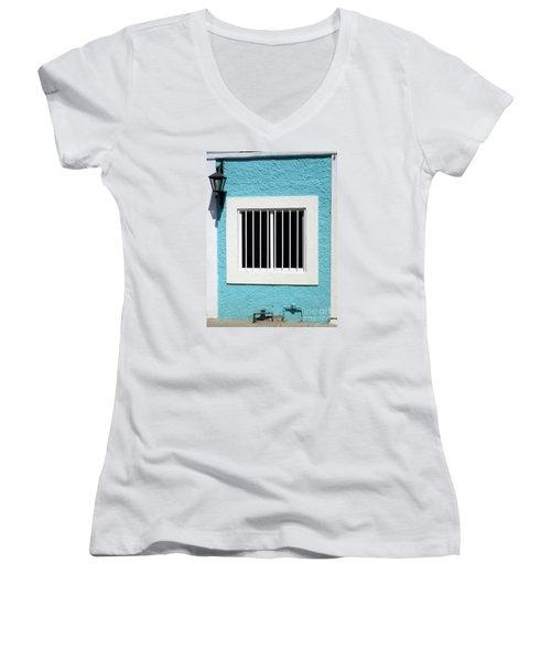 San Jose Del Cabo Window 9 Women's V-Neck T-Shirt (Junior Cut) by Randall Weidner