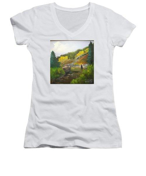 Women's V-Neck T-Shirt (Junior Cut) featuring the painting San Juan River by Barbara Haviland