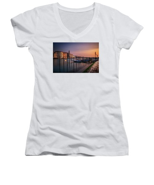 San Marco Campanile With Gondolas At Grand Canal During Calm Sunrise, Venice, Italy, Europe. Women's V-Neck (Athletic Fit)