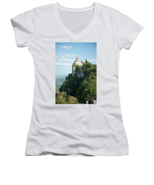San Marino - Guaita Castle Fortress Women's V-Neck T-Shirt
