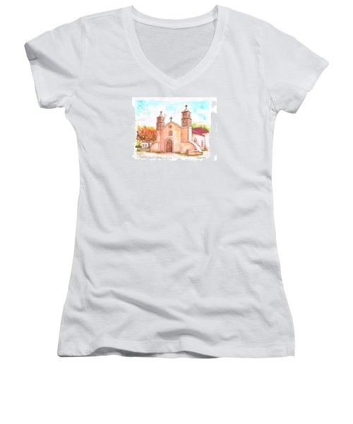 San Miguel Catholic Church, Socorro, New Mexico Women's V-Neck T-Shirt (Junior Cut) by Carlos G Groppa
