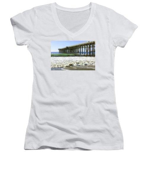 Women's V-Neck T-Shirt (Junior Cut) featuring the photograph San Simeon Pier by Art Block Collections