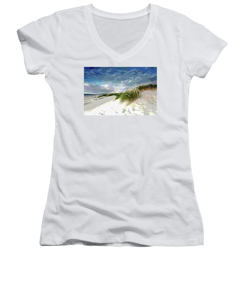 Sand And Surfing Women's V-Neck T-Shirt (Junior Cut) by Charles Shoup