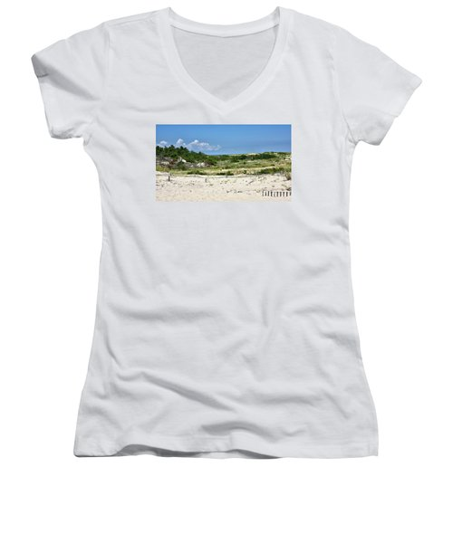 Women's V-Neck T-Shirt (Junior Cut) featuring the photograph Sand Dune In Cape Henlopen State Park - Delaware by Brendan Reals