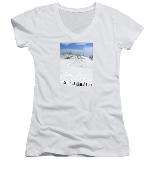 Women's V-Neck T-Shirt (Junior Cut) featuring the photograph Sand Dunes Dream 2 by Marie Hicks