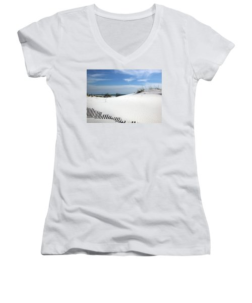 Women's V-Neck T-Shirt (Junior Cut) featuring the photograph Sand Dunes Dream by Marie Hicks