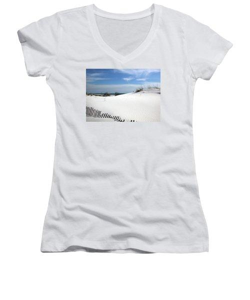 Sand Dunes Dream Women's V-Neck T-Shirt (Junior Cut) by Marie Hicks