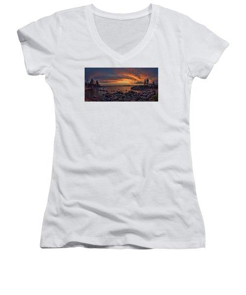 Sand Harbor Sunset Panorama Women's V-Neck
