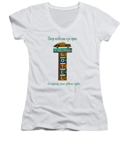 Sandman Motel 2 Women's V-Neck T-Shirt (Junior Cut) by Rick Mosher