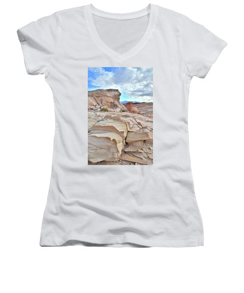 Sandstone Staircase In Valley Of Fire Women's V-Neck T-Shirt (Junior Cut) by Ray Mathis