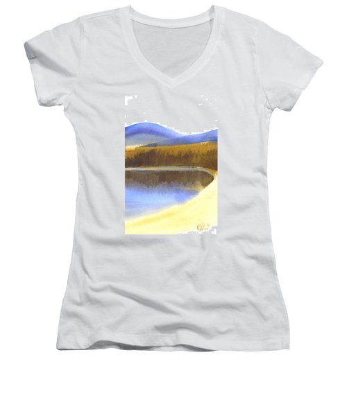 Women's V-Neck T-Shirt (Junior Cut) featuring the painting Sandy Blue Dusky Mountain Lake by Kip DeVore
