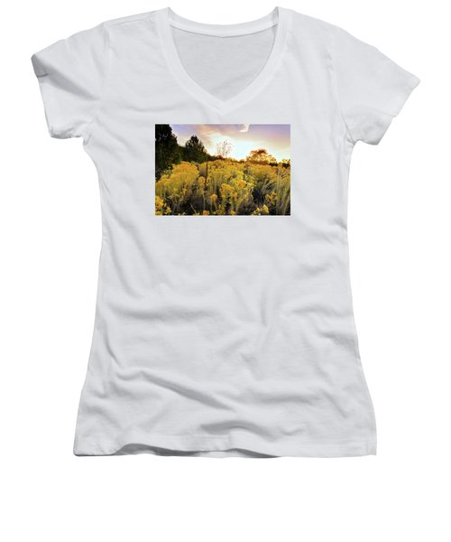 Women's V-Neck T-Shirt (Junior Cut) featuring the photograph Santa Fe Magic by Stephen Anderson