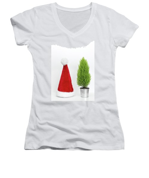 Santa Hat And Little Christmas Tree Women's V-Neck T-Shirt (Junior Cut) by GoodMood Art