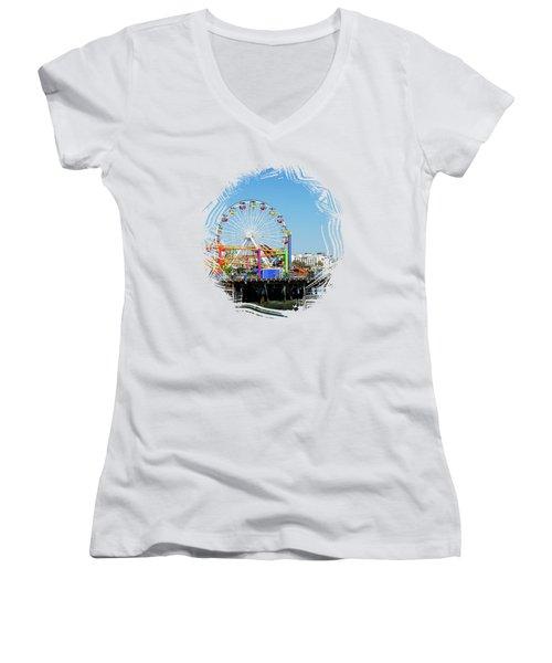Santa Monica Ferris Wheel Women's V-Neck T-Shirt (Junior Cut) by Stefanie Juliette