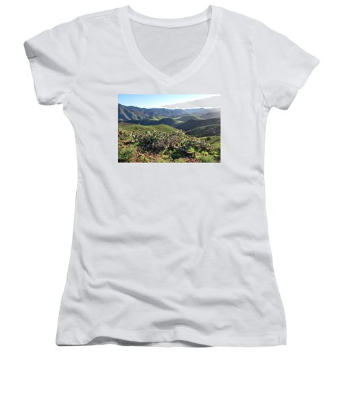 Santa Monica Mountains - Hills And Cactus Women's V-Neck (Athletic Fit)