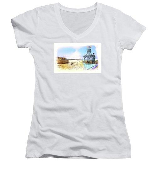 Santa Monica Pier Ver1  Women's V-Neck T-Shirt