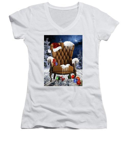 Santa's Chair Women's V-Neck T-Shirt (Junior Cut) by Mihaela Pater