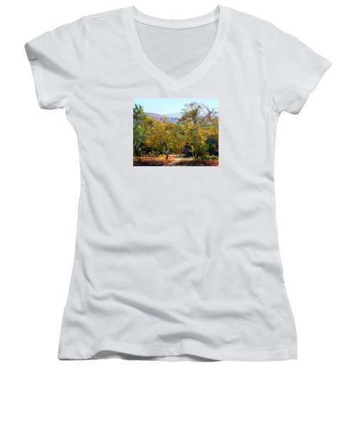 Women's V-Neck T-Shirt (Junior Cut) featuring the photograph Santiago Creek Trail by Timothy Bulone