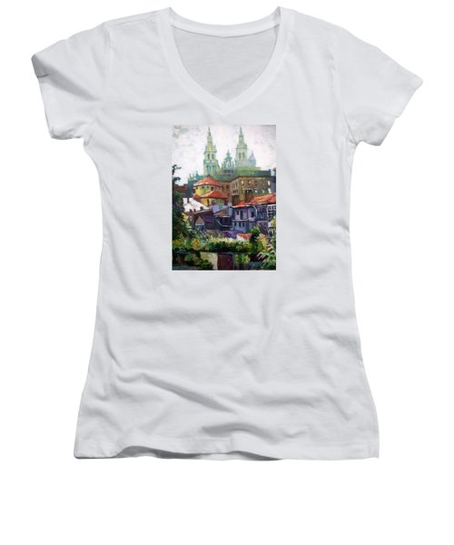 Santiago  Spain Women's V-Neck T-Shirt (Junior Cut) by Paul Weerasekera