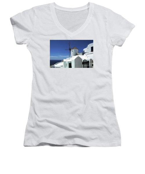 Women's V-Neck T-Shirt (Junior Cut) featuring the photograph Santorini Greece Architectual Line 5 by Bob Christopher