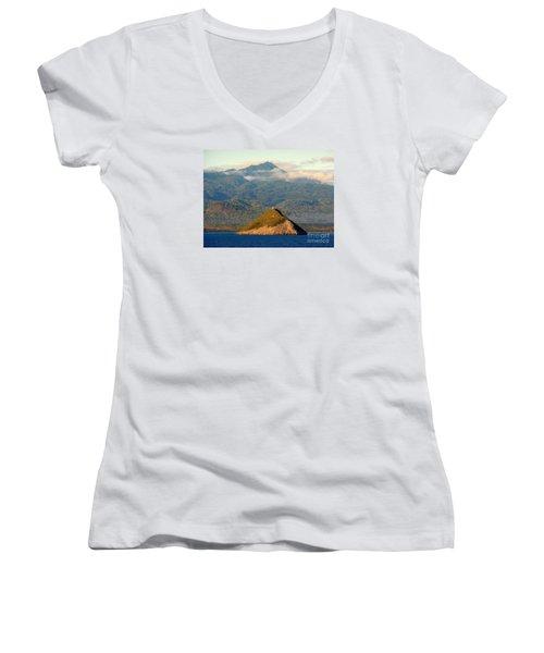 Sao Tome Africa Harbor Women's V-Neck T-Shirt (Junior Cut) by John Potts