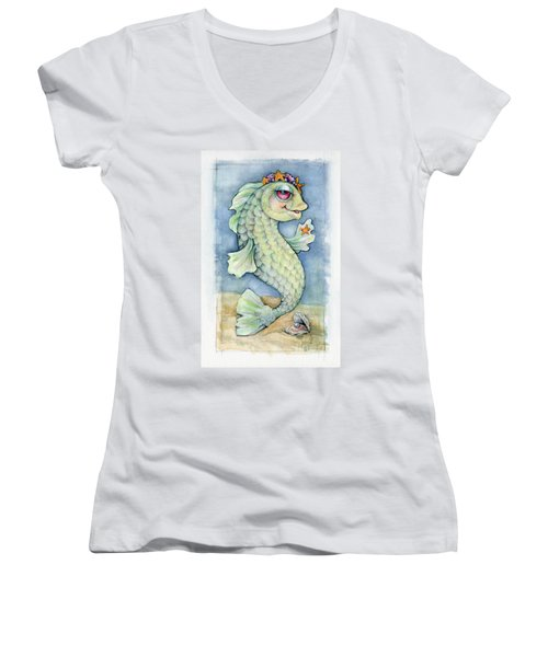 Women's V-Neck T-Shirt (Junior Cut) featuring the painting Sarafina Seabling by Lora Serra
