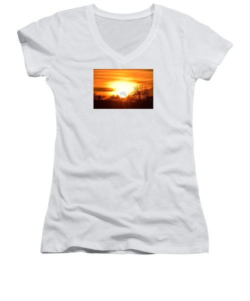 Women's V-Neck T-Shirt (Junior Cut) featuring the photograph Saturday Mornings Sunrise by Dacia Doroff