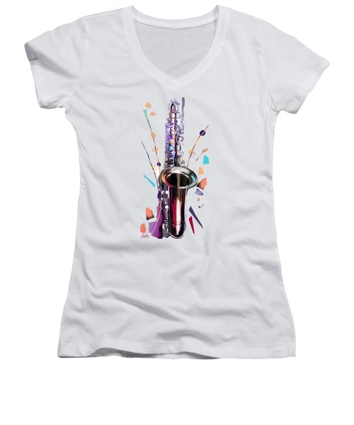 Saxophone Women's V-Neck T-Shirt (Junior Cut) by Melanie D