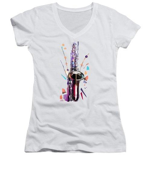 Saxophone Women's V-Neck (Athletic Fit)